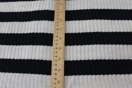 End of BOlt :2.5 yards of Famous Maker Brighton Rugby Stripe Navy Rib Knit