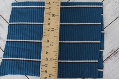 End of Bolt: 2.5 yards of  Famous Maker Geaghan Stripe Teal Rib Knit