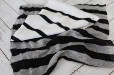 End of Bolt: 3 yards of Famous Maker Meriel Thermal Stripe Black and Gray Knit