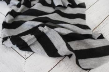 End of Bolt: 4 yards of Famous Maker Meriel Thermal Stripe Black and Gray Knit