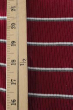 End of Bolt: 2.5 yards of Famous Maker Geaghan Stripe Burgundy Rib Knit