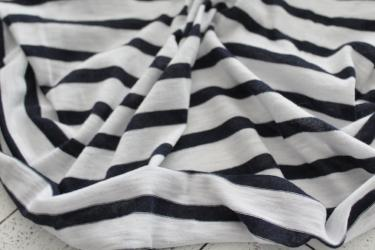 End of Bolt: 4 yards of Famous Maker Zanders Nautical Slub Navy & Ivory Stripe Knit