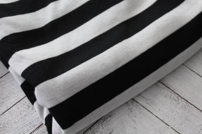 Famous Maker Black and Ivory Hacci Stripe Knit