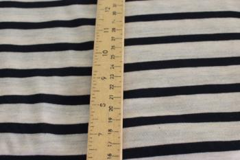 End of Bolt: 5 yards of  Famous Maker Tri-blend Oatmeal and Navy Stripe Knit