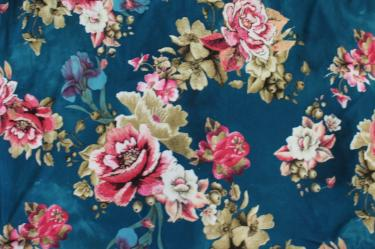 Double Brushed English Roses Distressed Look Poly Spandex Knit