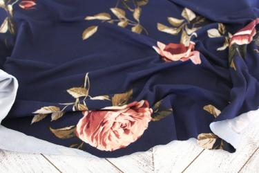 Double Brushed Navy Covina Floral Knit