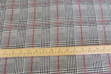 Wales Check Plaid Liverpool Black and Coral Knit