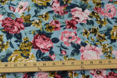 End of Bolt: 3 yards of Fashion Cloud Blue English Garden Cotton Linen Woven-Remnant