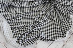Double Brushed Small Gingham Black and Cream Knit