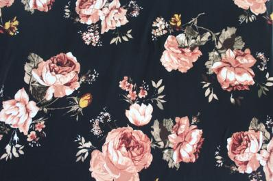 Double Brushed Malene Floral Black Knit