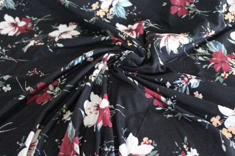 Double Brushed Trinidad Floral Black Knit