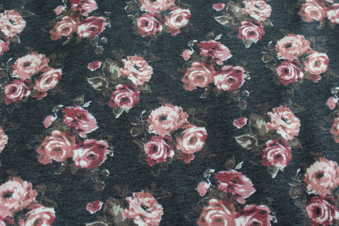 End of Bolt: 4-1/8th yards of Floral Charcoal Gray Lightweight French Terry Knit