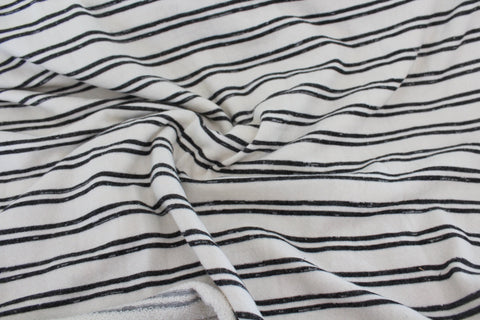 End of BOlt: 2 yards of Famous Maker Cream and Charcoal Stripe French Terry Knit
