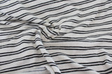 End of BOlt: 2.5 yards of Famous Maker Cream and Charcoal Stripe French Terry Knit