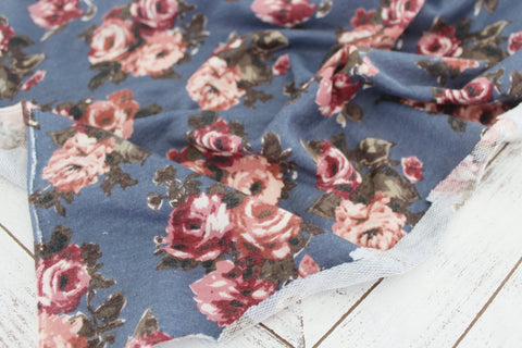End of Bolt: 3.5 yards of Floral Slate Blue Lightweight French Terry Knit