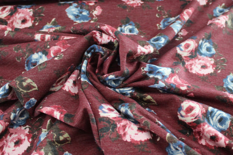 End of Bolt: 1.5 yards of Floral Rose Lightweight French Terry Knit