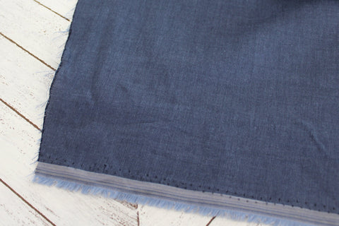 End of Bolt: 3 yards of Designer Chambray Dark Blue Shirting Woven
