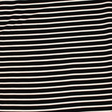 End of Bolt: 2 yards of Small Stripe Black and White Liverpool Knit