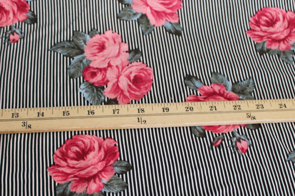 Double Brushed Coral Roses and Vertical Stripe Knit