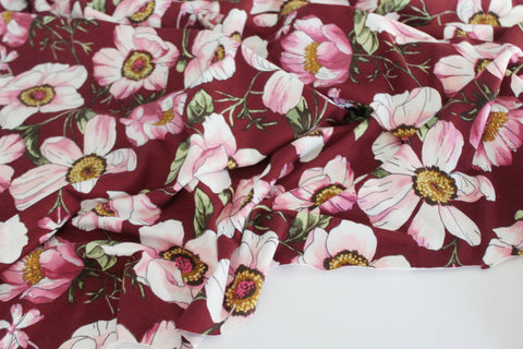 Double Brushed Floral Poppies Burgundy Knit