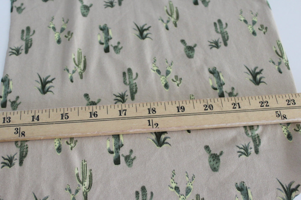 Double Brushed Poly Spandex Tan and Green Cacti Knit