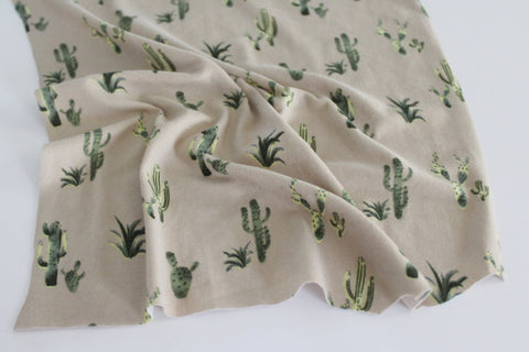 End of Bolt: 4 yards of Double Brushed Poly Spandex Tan and Green Cacti Knit