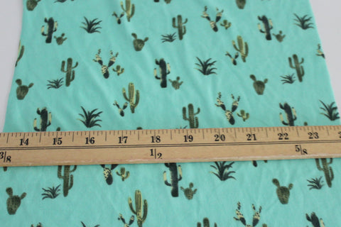 End of Bolt : 4 yards of Double Brushed Poly Spandex Light Mint and Green Cacti Knit