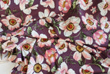 Double Brushed Floral Poppies Purple Orchid Knit