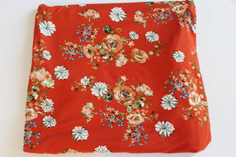 End of BOlt: 4 yards of Double Brushed Costello Boho Floral Rust Orange Knit