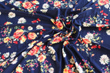 Double Brushed Costello Boho Floral Navy Knit