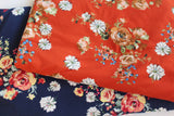 Double Brushed Costello Boho Floral Rust Orange Knit