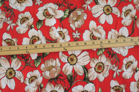 Double Brushed Floral Poppies Orange Red Knit