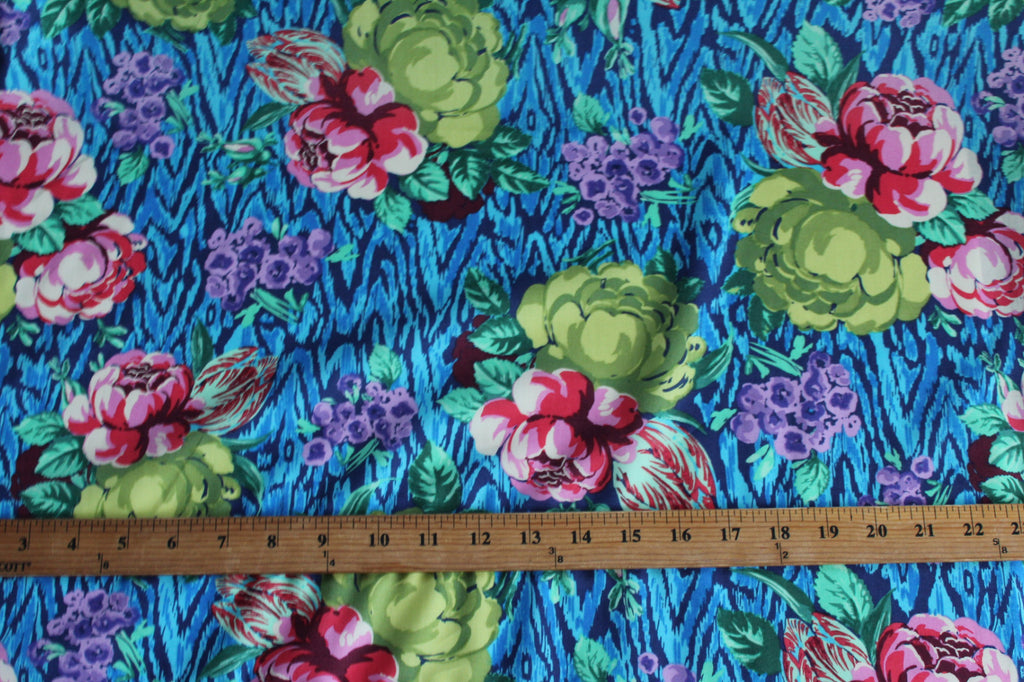 End of Bolt: 2 Yards of Hapi Tapestry Rose Sapphire Cotton Voile Woven