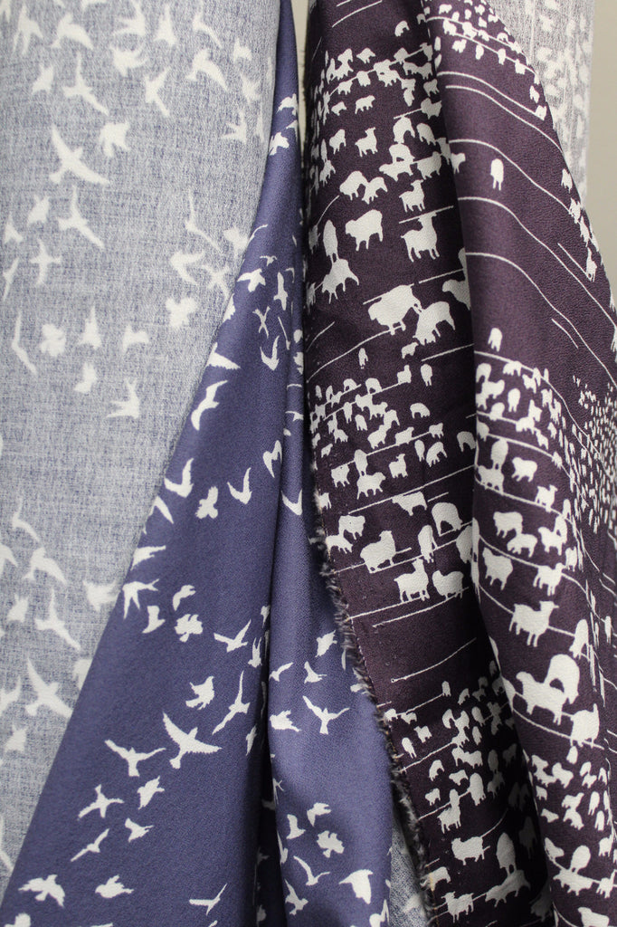 Organic Cotton Birds Print Crepe Woven