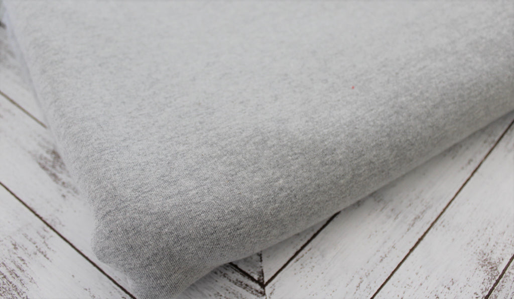 End of Bolt: 3 yards of Heather Gray Cotton Spandex Rib Knit Solid