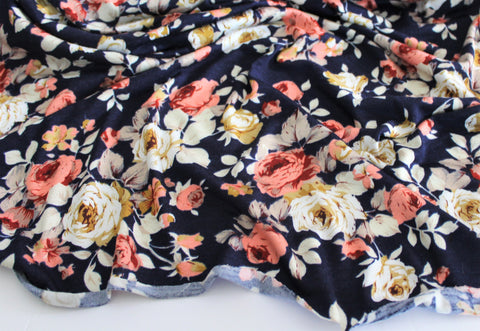 End of BOlt: 3-1/8thyards of Rayon Spandex Romantic Garden Floral Navy Jersey Knit