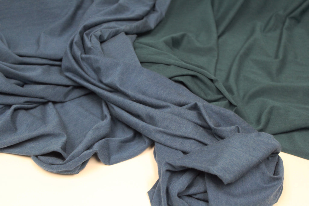 Organic Cotton Bamboo Viscose Blue Jersey Knit