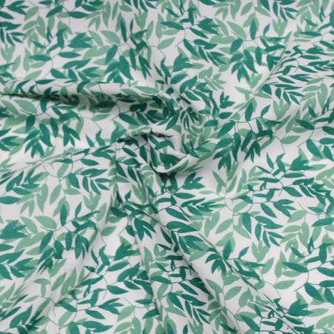 Organic Cotton Resort Leaves Cambric Print Woven