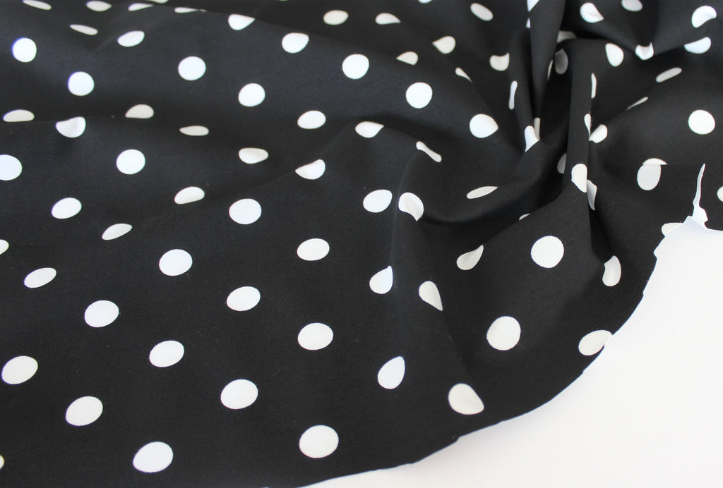 Cotton Spandex Dots Black 10 oz Jersey Knit