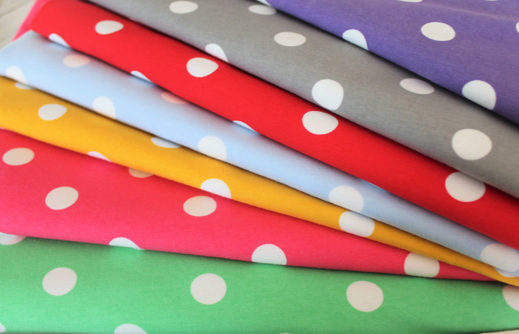 Cotton Spandex Dots Light Purple 10 oz Jersey Knit