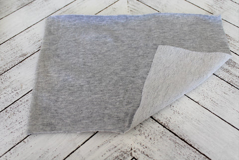 Designer Heather Gray Cotton Spandex Blend French Terry