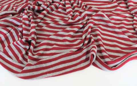 End of BOlt: 3 yards of Designer Red and Gray Baby Stripe Knit