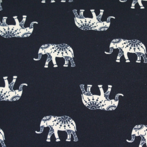 #1 Double Brushed Bohemian Elephant Black Knit. LA Finch Fabrics