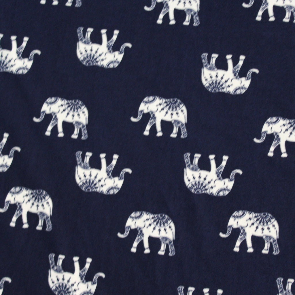 Double Brushed Navy Bohemian Elephant Knit