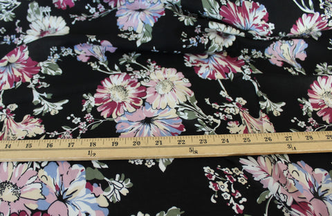 End of BOlt: 3.5 yards of Into the Meadows Flower Field Rayon Challis