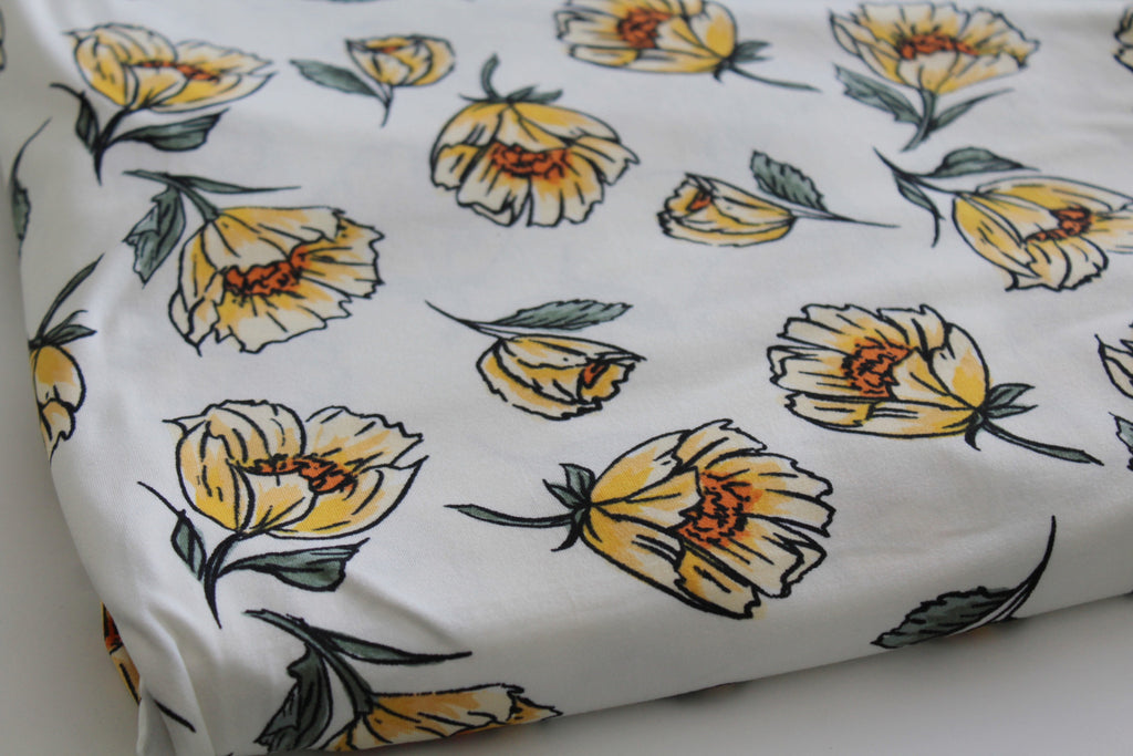 Double Brushed Sunshine Floral White Knit