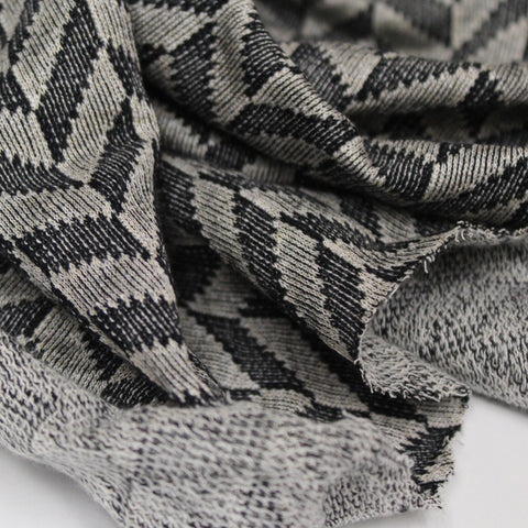 Designer Black and Grey French Terry Knit