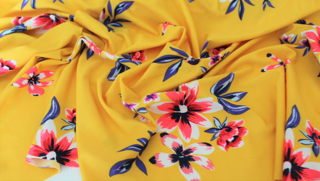 End of Bolt:3/4th yard of Mustard Floral Swim & Performance Wear Knit