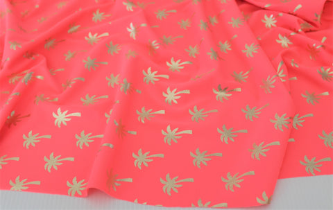 Gold Foil Palm Trees Swim & Performance Wear Neon Pink Knit