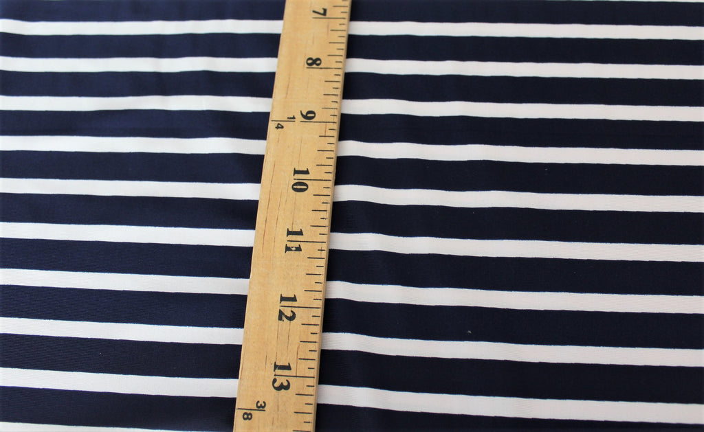 End of Bolt: 3/4th yards of Navy & White Swim Performance wear Stripe Knit